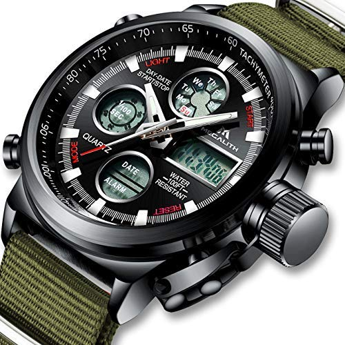 Herren Uhren Männer Militär Wasserdichte Chronograph Analog Digital Sport Armbanduhr Dual Display LED Groß Stoppuhr Shock Resistant Casual Armbanduhren Uhren für Männer