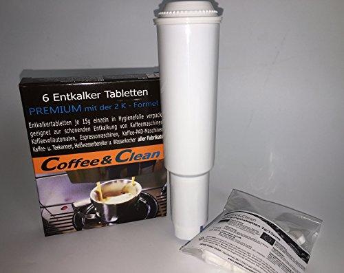 JaPeBi 5 Wasserfilter AQK-04 für Jura Impressa Claris White Plus + 25 Reiniger-Tabs á 2g + 6 Entkalker-Tabs á 15g