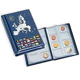 Leuchtturm 330102 Münzalbum ROUTE EURO| Taschenalbum für bis zu 12 Kursmünzensätze aus dem Euroraum | Mit Euro Deckelprägung | blau