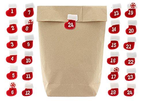 25 / 50 / 100 / 200 Kraftpapiertüten mit Kreuzboden 17 x 27 cm zum Basteln und Befüllen ideal als Weihnachts-Geschenktüten, Mitgebsel, DIY Adventskalender (24 Stk mit Filzstiefel-Klammern)