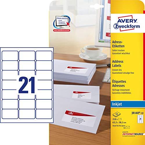 Avery Dennison Zweckform-Etichette per indirizzi J 8160-10 rivestimento speciale, 10 pagine, 63,5 x 38,1 mm, colore: bianco
