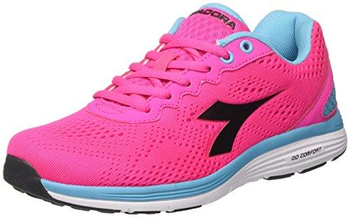 Diadora swan 2 w, scarpe da corsa donna, rosa (rosa fluo/nero), 36 eu