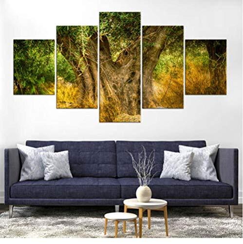 Dengjiam Leinwandbilder Modulare Bilder 5 Stück Olivenbaum Landschaftsdruck Hd Fotos Poster Rahmen Für Wohnzimmer Home Decoration