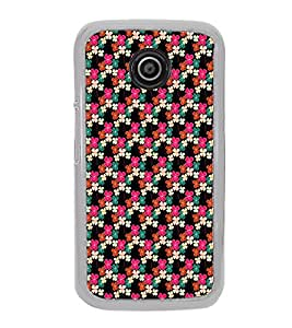 ifasho Animated Pattern design colorful flower in black background Back Case Cover for Moto E