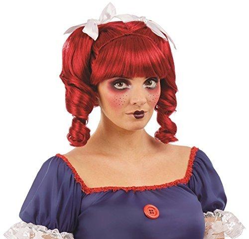 Damen Rag Puppe Haarzöpfe süß unheimlich Halloween Horror Karneval Kostüm Verkleidung Perücke Zubehör