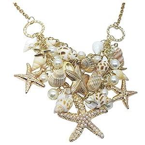 Damen Muschel Perle Anhänger Halskette Necklace Langkettige Ocean Beach Schmuck Lange Kette