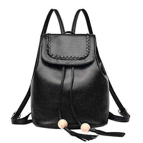 Mypace Groß Klein Umhängetasche Leder Tasche Für Damen Frauen-Mode-Leder-Rucksack-weibliche hübsche Troddel-Reise-Rucksack-Schultasche
