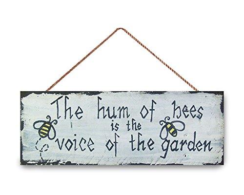 (Hanging Wooden Sign Bee Outdoor, Garten Schild, Bee, Garten Decor, das Summen der Bienen Schild, Geburtstag Geschenk, Muttertag Geschenk 15,2cm H x 40,6cm W.)