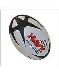 Hawk Sports rg150Balón de Rugby, unisex infantil, Blanco/Negro, 5