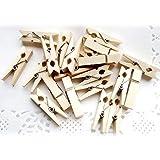 TOPmountain Hölzerne Wäscheklammern 50 Stück Mini Holzpflöcke Fotoclips Holz Craft Clips Fotopapier-Stifte Kartenhalter Kunsthandwerk Geschenk-Clips