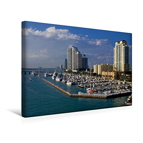 Calvendo Premium Textil-Leinwand 45 cm x 30 cm quer, Miami, Florida | Wandbild, Bild auf Keilrahmen, Fertigbild auf echter Leinwand, Leinwanddruck Orte Orte