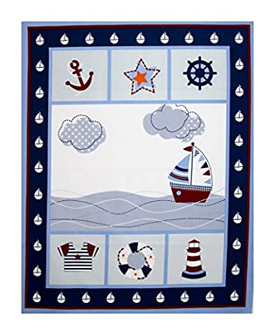 Lovely Fabric Panel for Nursery/Children/Babies Cot Quilt/Wall Hanging/Play Mat --- Sailing Over the Ocean