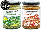 Loving Foods Award-Winning *Organic* Sauerkraut & Kimchi (2 x 500g) Raw, Unpasteurised & Bursting with Beneficial Live Bacteria (2 x Jars)