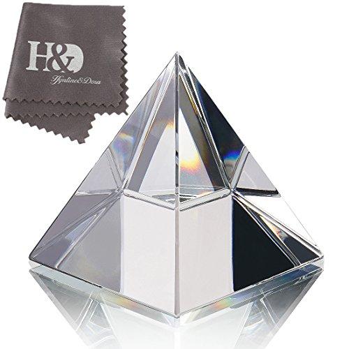 H & d 6,1cm h trasparente cristallo, motivo a forma di piramide con confezione regalo
