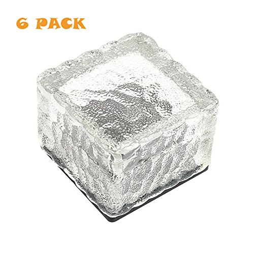 Loveusexy Solar Garden Light wasserdichte LED begraben Lights Ice Cube Glas Steine Rock Lampe für Outdoor pewter Garten Yard Pack of 6PCS & White