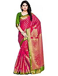 MIMOSA Women's Silk Saree with Blouse Piece, Free Size (4102-2150-2D-RNI-GRN, Pink)