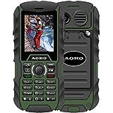 N.ORANIE AORO IP68 Wasserdichtes Stoßfestes staubdichtes Militär schroff 2G GSM Handy mit Lautsprecher, Taschenlampe + 2 Batterien und Unterstützung Dual Sim Outdoor Handy (Grün + Schwarz)
