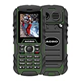 N.ORANIE AORO IP68 Waterproof Shockproof Dustproof Military Rugged 2G GSM Mobile Phone with Loud Speaker Flashlight & 2 Battery and Support 2 Unlocked SIM Cards for Outdoor Adventure Wild Trip(Green+Black)