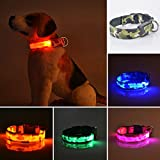 LED Hundehalsband, 3Modi Super Hell favolook Wasserdicht Blinklicht bis Nacht Sicherheit Camouflage Halsband mit verstellbare Schnalle und Akku für kleine mittlere Große Welpen Hunde Katzen Haustiere