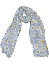 Cool New Margarity Daisy Print print Large Maxi Scarf Grey