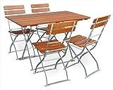 Biergartengarnitur 1x Tisch 120x70 cm & 4x Stuhl EuroLiving Edition-Classic ocker/verzinkt