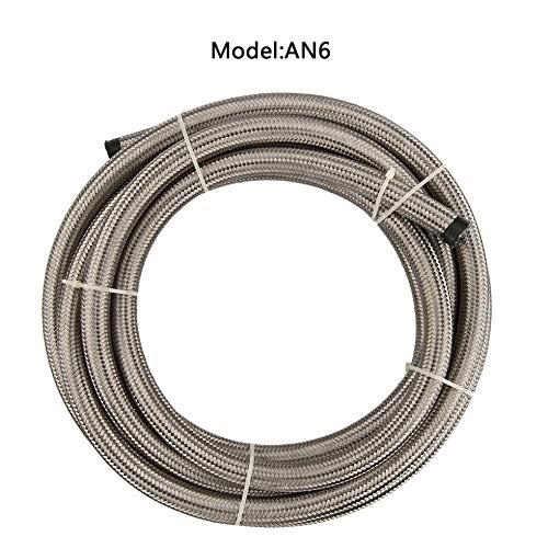 Sen-Sen AN4 / AN6 / AN8 / AN10 Flexibler 1 Meter Nylon geflochtener Kraftstoffschlauch Hitzebeständiges Silber AN6 - Stainless Steel Braided Oil