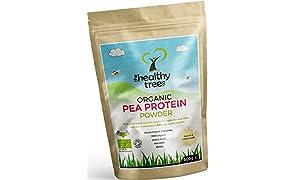 TheHealthyTree Company Proteína de Guisante Orgánico en Polvo - Alto Contenido de Aminoácidos y BCAA para Aumentar el Músculo, la Fuerza y la Recuperación - Más de 80% de Polvo de Proteína Vegana Pura