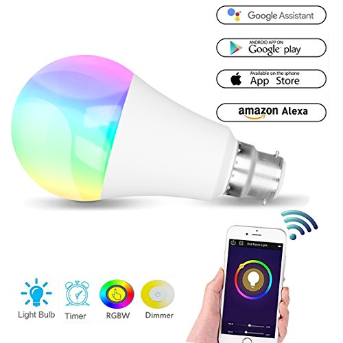 Smart Bulb, WiFi Led Hue Light B22 Bulb Colour Lamp Works with Amazon Alexa and Google Home, RGBW Colour Changing, 60W Equivalent, Timing Function, Remote Controlled by IOS/Android Devices, No Hub Required, Mood Led Party Lights or Decorative Bulbs Warm White[Energy Class A+]