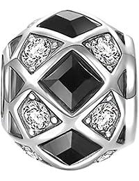 Soufeel Damen-Bead White und Schwarz Kristal Kugel Bead 925 Sterling Silber Charm