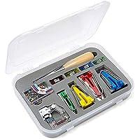 Vordas Set de Bias Tape Maker Set de Costura Bias Tape Maker de 6-12-18-25mm con Punzón, Pin, Pie Prensatelas Ajustable, Clip de Tela