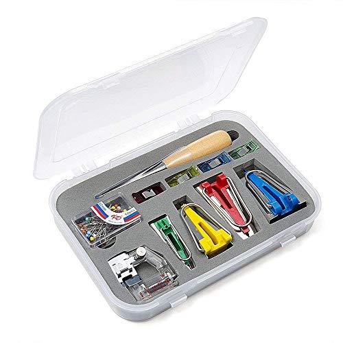 Vordas Stoff Bias Tape Maker Werkzeug Nähen Quilting mit Verstellbar Nähfuß, Quilten Ahle, Ball Pins, Nähen Zubehören für Kurzwaren