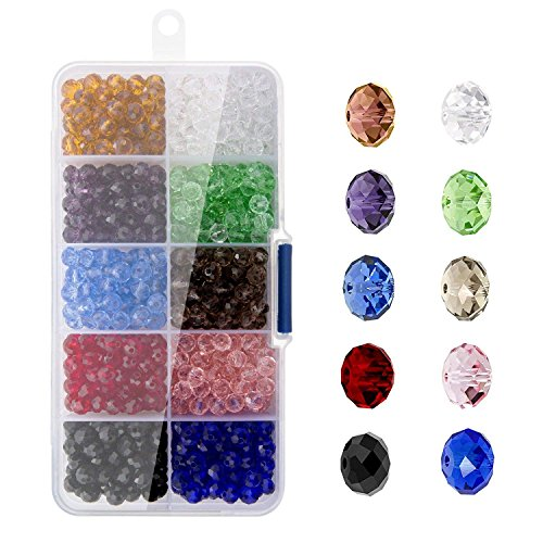 ZOEON 800PCS 6mm Cristallo Sfaccettato Bicono Perline di Vetro per Creazione di Gioielli, 10 Tipi di Miscelazione con Scatola