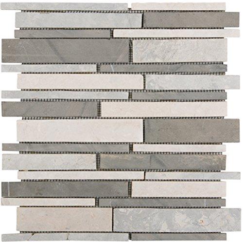 Brick-mosaik-fliesen-böden (Natursteinmosaik Fliesen grau beige brick Wand Boden Dusche WC Küche | 10 Matten | Art: es-64977_f)