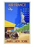 Affiche Air France Paris New York - V.Guerra 1951 Reproduction 50 X 70 cm
