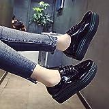 KPHY-Der England Frauen Schuhe Runder Kopf kleine Kuchen Dicke Schuhe Studentinnen koreanische Version von Casual Schuhe mit einem einzigen weiblichen 38 Schwarz