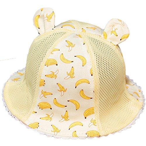 Demarkt Fischerhut Sommerhut Sonnenhut Strandhut für 3 bis 12 Monate Baby Mädchen Kappenumfang von etwa 45-50cm Bananen Gelb (Banane Hat)