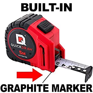 5M (Metric) QUICKDRAW PRO Self Marking Tape Measure - 1st Measuring Tape with a Built in Pencil - Contractor Grade Steel Tape - Power Locking Tape Ruler