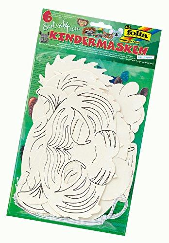 masken Exotische Tiere, aus Pappe, Motive sortiert, zum selbst Bemalen und Gestalten, 6 Stück, weiß, für Kinder, Jungen und Mädchen, ideal für Kindergeburtstage und Partys ()