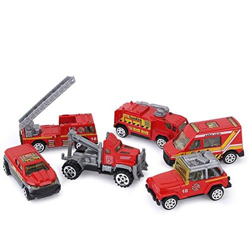 Feuerwehr Kinder Set, Teckpeak 6 Teilig Fahrzeuge mit Funktion Spielzeugauto Set Fahrzeuge set Kinder Fahrzeuge ab 3 Jahre