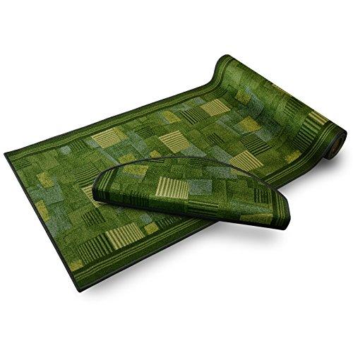 casa pura® Stufenmatten mit Musterung | GUT-Siegel | Rutschfest | grün | kombinierbar mit Läufer | 65x23,5 cm | halbrund | 15er Set