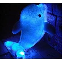 Colorido LED Luz Throw Pillow forma delfín azul