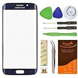 CrazyFire S6Edge Glas Ersatz, Pebble Blue Front Außen Objektiv Glas Bildschirm Ersatz für Samsung Galaxy S6Edge sm-g920g925a g925p g925t g925V g925r4g925F mit Werkzeug-Set und Kleber