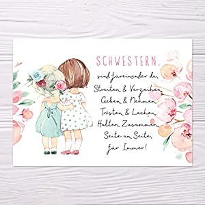 """A6 Postkarte""""Schwestern sind füreinander da ."""" in rosa Wasserfarbenopitk Glanzoptik Papierstärke 235g/m2 Geschenk Schwester"""