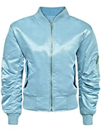 CANDY FLOSS NEW WOMENS LADIES MA1 SATIN RETRO ARMY FLIGHT VINTAGE MILITARY BOMBER BIKER JACKET