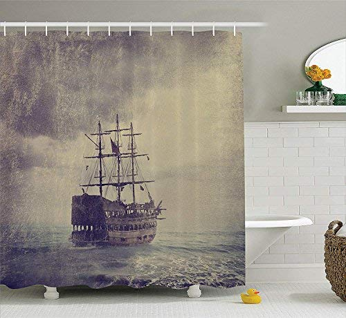 HOJJP L Shower Curtain Old Pirate Ship In The Sea Historical Legend Cruise Retro Voyage