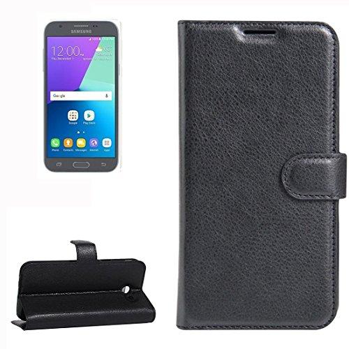 Samsung Galaxy J3 (2017) & J3 Prime Case, Litschi Texture Horizontale schlaffe Ledertasche mit Halter und Karten Slots & Wallet für Samsung Galaxy J3 (2017) & J3 Prime by diebelleu ( Color : Red ) Black