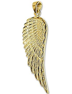 CLEVER SCHMUCK Goldener Anhänger exklusiver großer Engelsflügel 36 mm glänzend diamantiert 333 GOLD 8 KARAT mit...