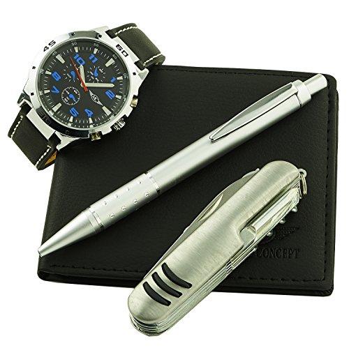 Montre-Concept - Geschenk-Set Männer Uhr mit multifunktions - Messer, Brieftasche und Kugelschreiber : CCP-1-0072