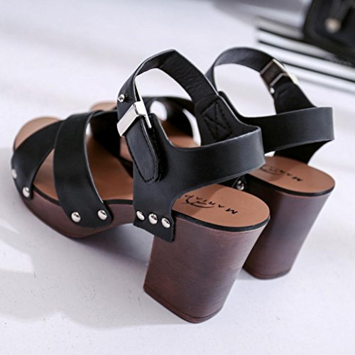 Damen Peep-Toe High Schuhe Römische Sandalen, Kaiki Mode Sandalen Frauen Pumps High Heels Schuhe Damen Schuhe Black 1