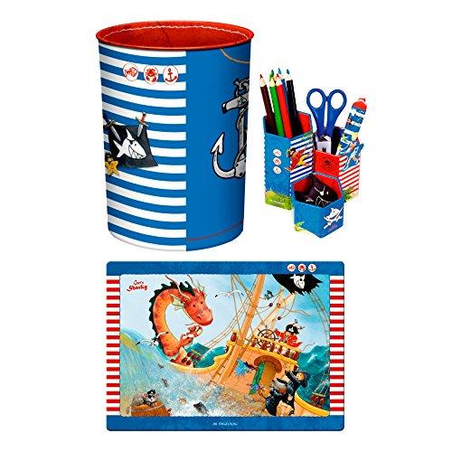 Capt'n Sharky 3er Set 13200 12773 12846 Schreibtischauflage, Stifteköcher & Papierkorb